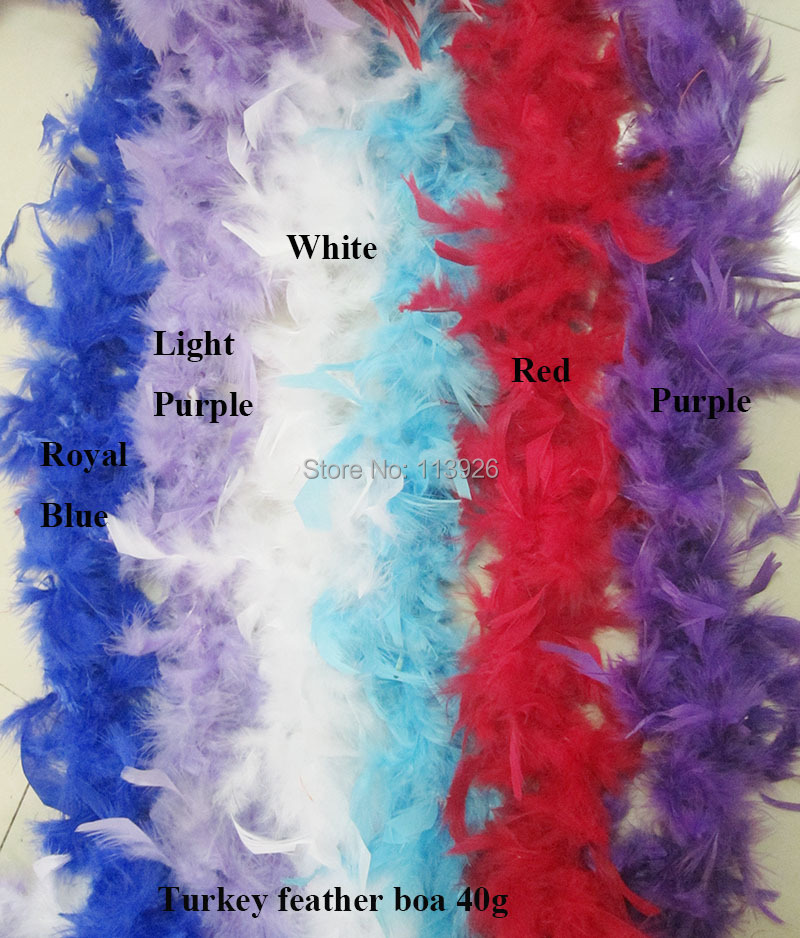 100pcs/lot 40g Marabou Feather multicolors 2Meters long turkey feather Boa For Christmas decoration