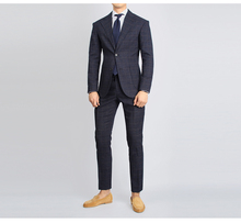 2019 New Fashion Mens Slim Fit Business Suit Plaid Striped Wedding Tuxedos Suits 2 Pieces Grooming Tailor Made