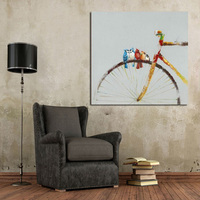1Peice Wall Canvas 100 Hand Painted Abstract Bicycle Oil Painting Modern Living Room Wall Decor Pictures