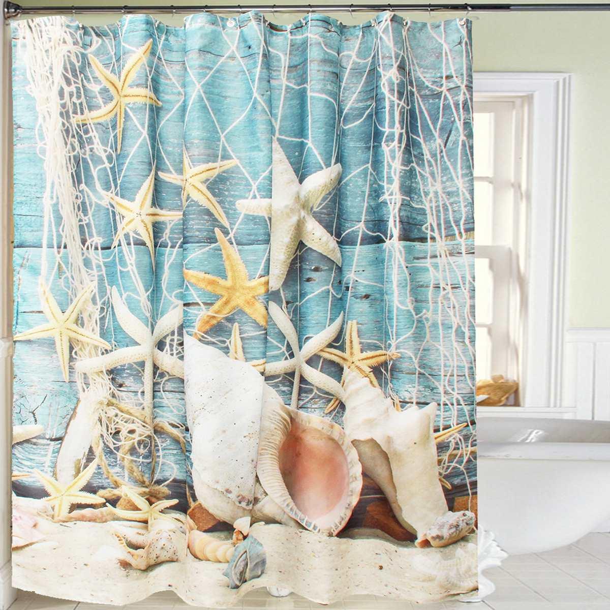 Sea Shower Curtain - Polyester fabric sea shell bathroom shower curtain waterproof sheer shower screen hooks household bathroom decoration 180x180cm