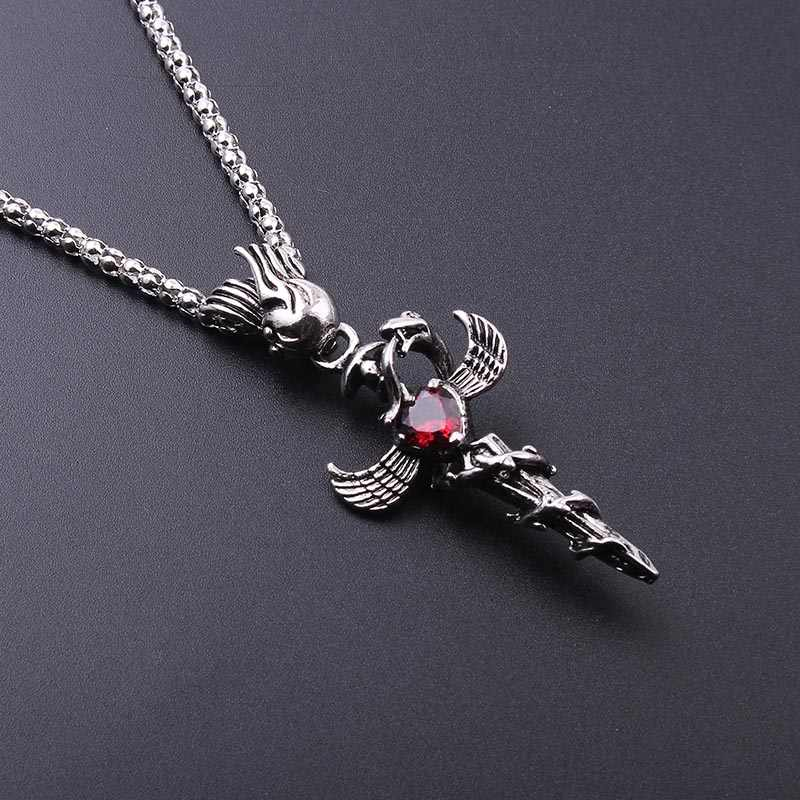 Myserious Angel Wings Male Metal Pendant Necklace Snake Necklaces Gift Boutique Sword Cross Jewelry Creative Man