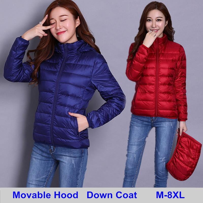 2018 Autumn New Removable Hooded Down Coats Women Solid Jacket Parkas Coat Pls Size 8XL Winter Warm Coat Outwear