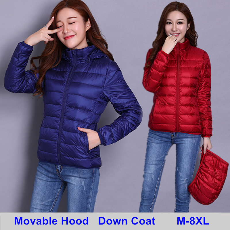 2019 Autumn New Removable Hooded Down Coats Women Solid Jacket Parkas Coat Pls Size 8XL Winter Warm Coat Outwear