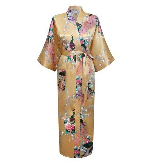 Горячие Продажи Золота Женщин Вискоза Одежды Платье Кимоно Юката Китайских Женщин сексуальное Белье Цветок Пижамы Большие Размеры Ml XL XXL XXXL