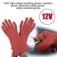 1 Pair Professional 12kv High Voltage Electrical Insulating Gloves Rubber Electrician Safety Glove 40cm Accessory Free