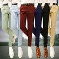 De Los nuevos Hombres Pantalones Casuales de Negocios de Moda Masculina del Color Sólido Pie delgado Pantalones Ajustados Pantalones Casuales Rojo Vino Negro verde