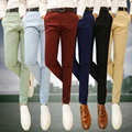 New Men 's Casual Pants Fashion Business Solid Color Male Slim Foot Pants Tight-fitting Men Casual Trousers Wine Red Black Green