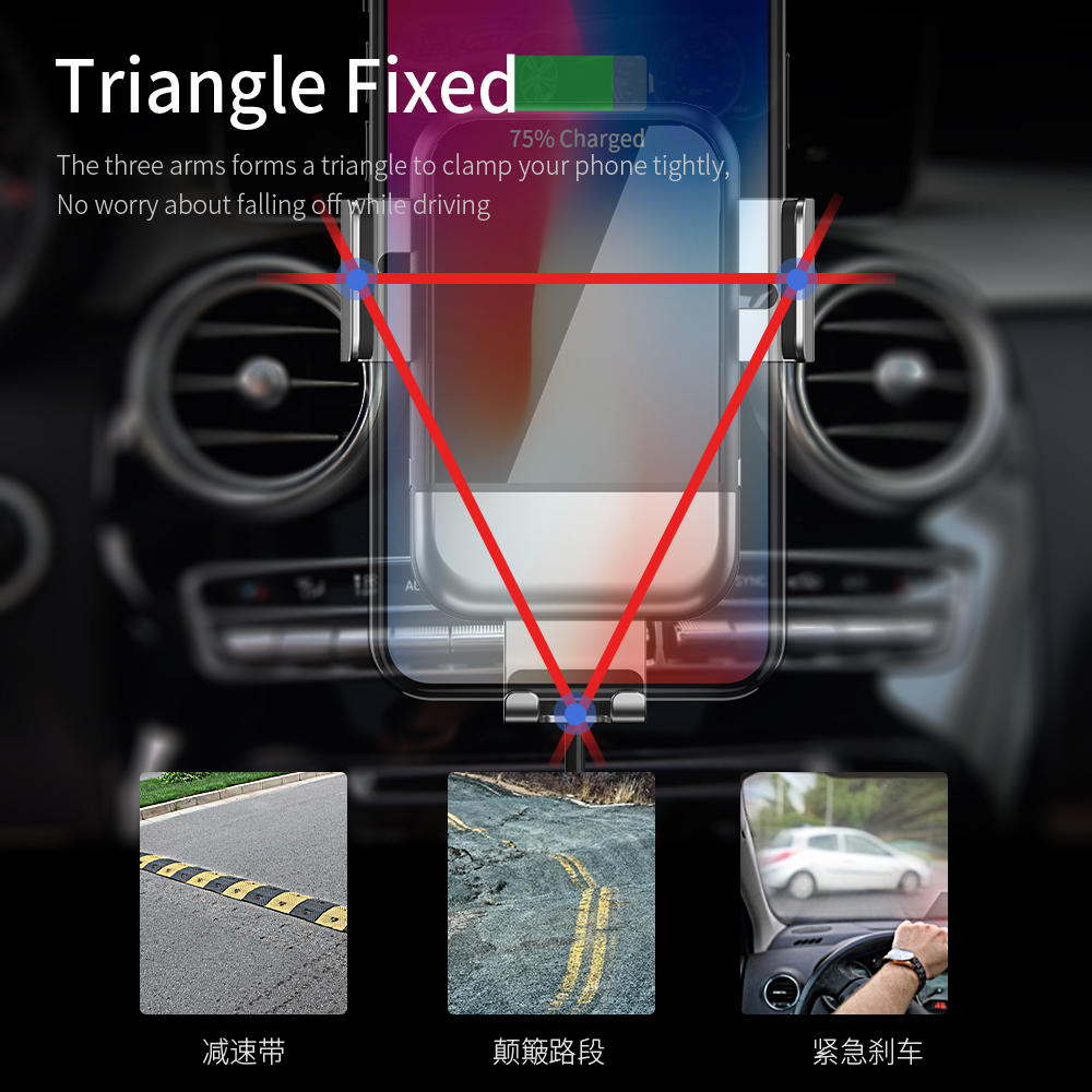 Image 4 - FPU Qi Car Wireless Charger for iPhone Xs Max XR X 8 10W Fast  Wireless Charging for Samsung S10 S9 S8 Car Phone Holder ChargerCar  Chargers