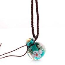 Модный кулон с цветами ожерелье Красочные лэмпворк стекло кулон ожерелье эфирное масло диффузор круглый флакон для духов Новинка