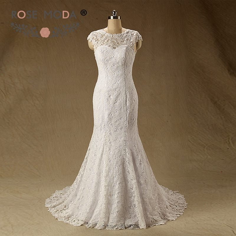 Real Brides Fit And Flare: Rose Moda Illusion O Neck Venice Lace Mermaid Wedding