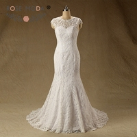 Rose Moda Illusion O Neck Venice Lace Mermaid Wedding Dress Fit and Flare Destination Bridal Gown Real Photos