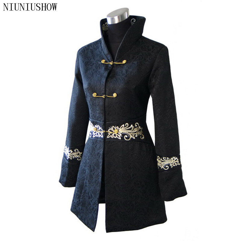 Black Traditional Winter Chinese Women s Cotton Long Jacket Coat Outerwear Size S M L XL