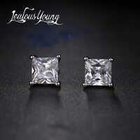 Boucles d'oreilles carrées en zircon cubique pour hommes, petites boucles d'oreilles en cristal CZ pour femmes, boucles d'oreilles Brincos AE400