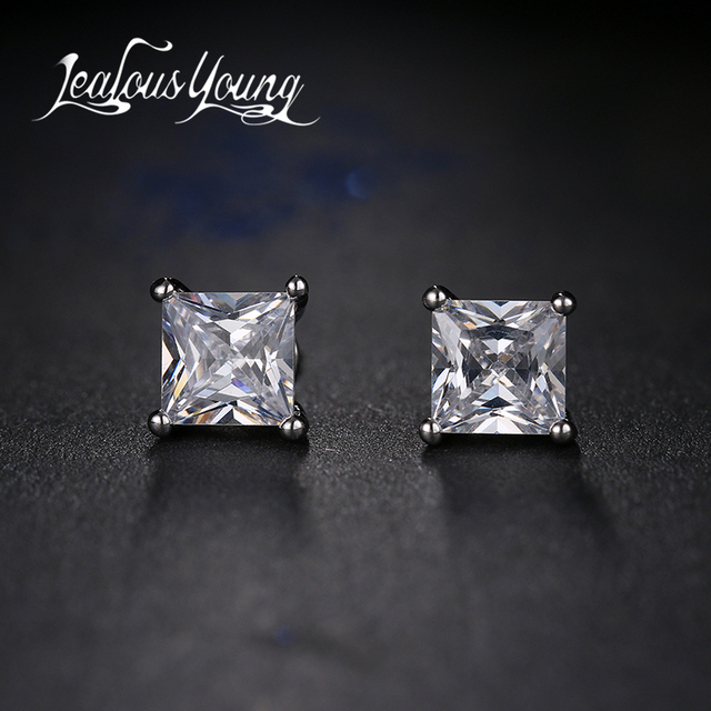 2f4fd6694 Classic Square Cubic Zirconia Stud Earrings for Men Small CZ Crystal Women  Studs Ear For Party