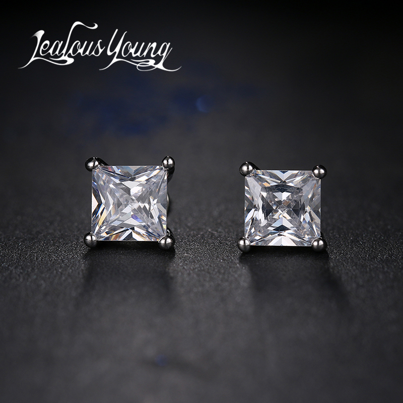Classic Square Cubic Zirconia Stud Earrings for Men Small CZ Crystal Women Studs Ear For Party Mens Earrings Brincos AE400