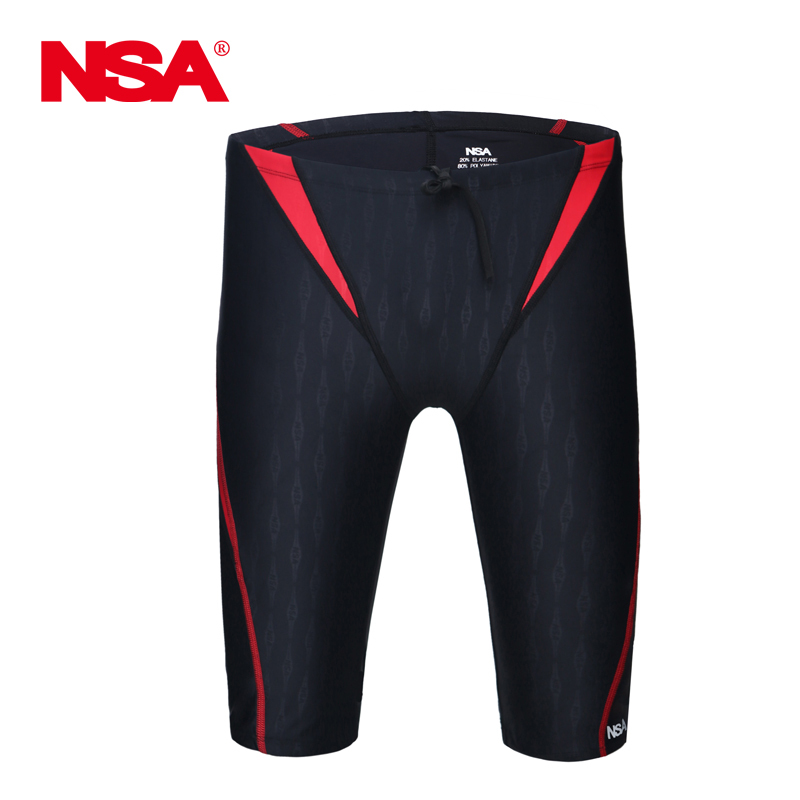 NSA 2019 Swimsuit Boys Swimwear Men Swim Trunks Boxer Mens Professional Swimming Trunks Shorts  Competition Sharkskin Swimsuit