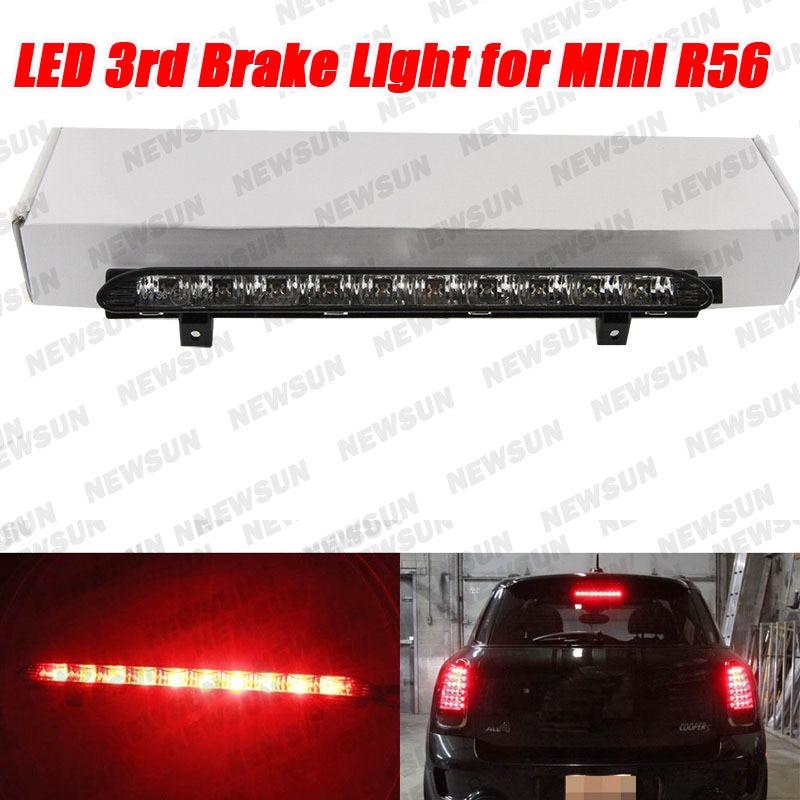 ФОТО 12V car led auto tail lamp 10 LED Black Chrome Lens Red High Mount Third 3rd Brake Light stop lamp OEM Fit For Mini Cooper R56