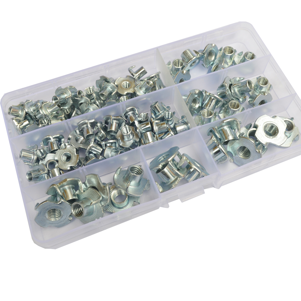 Tee Nuts four Pronged Metric Threaded Nuts Captive Blind Inserts For Wood Furniture Zinc Plated Steel Assortment Kit M4 M5 M6 M8-in Nuts from Home Improvement