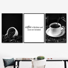 цена Black White Coffee Cup Love Quote Wall Art Canvas Painting Nordic Posters And Prints Wall Pictures For Living Room Kitchen Decor онлайн в 2017 году