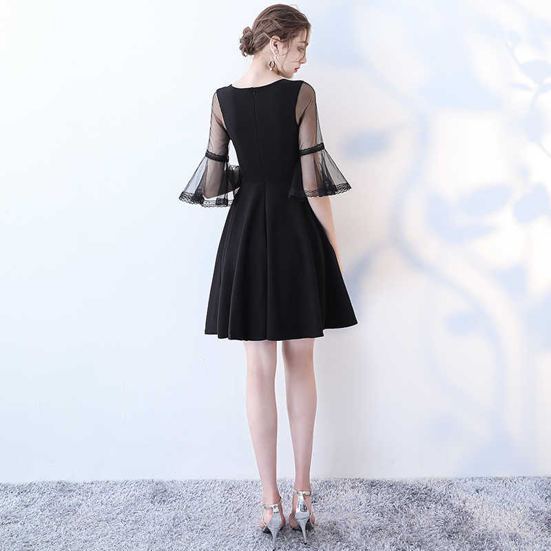 8dcac57dc16 ... Simple Sexy Black Cocktail Dress SSYFashion V-neck Horn Sleeve Party  Formal Dress Custom Homecoming ...