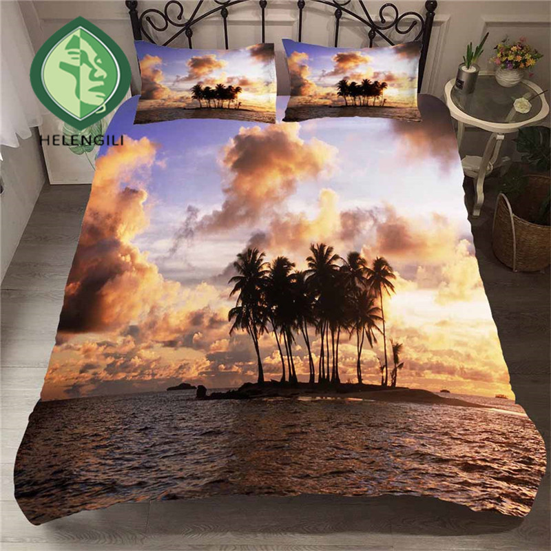 HELENGILI 3D Bedding Set Beach Sea Print Duvet Cover Set Lifelike Bedclothes With Pillowcase Bed Set Home Textiles #ST-08
