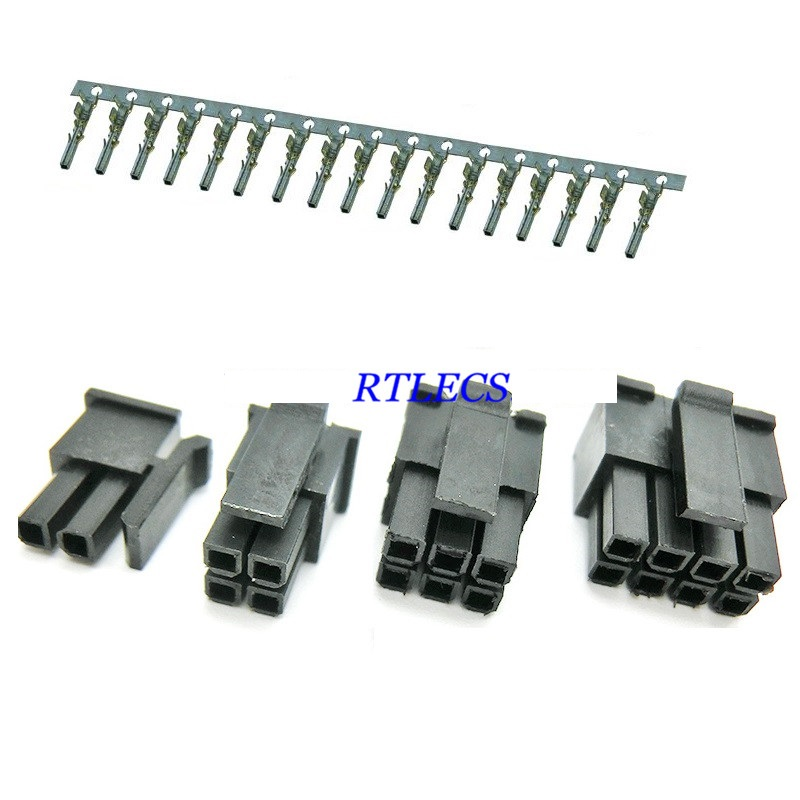 2pcs Micro-Fit 3.0 Mm Connector Dual Rows Male Housing 2x1  2Pin 4 6 8 10 12 14 16 18 20 22 24 Pin Female Terminal