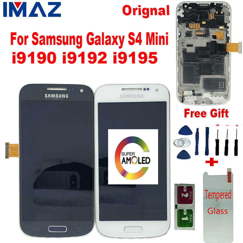 IMAZ Original AMOLED LCD For Samsung Galaxy S4 Mini i9190 i9192 i9195 LCD Display Touch Screen Digitizer Assembly For I9195 LCD image