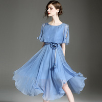 Summer New Europe and America Fashion Runway Round Neck Slim Frill Dress Women Long Midi Blue Bodycon High Waist Lady Dresses