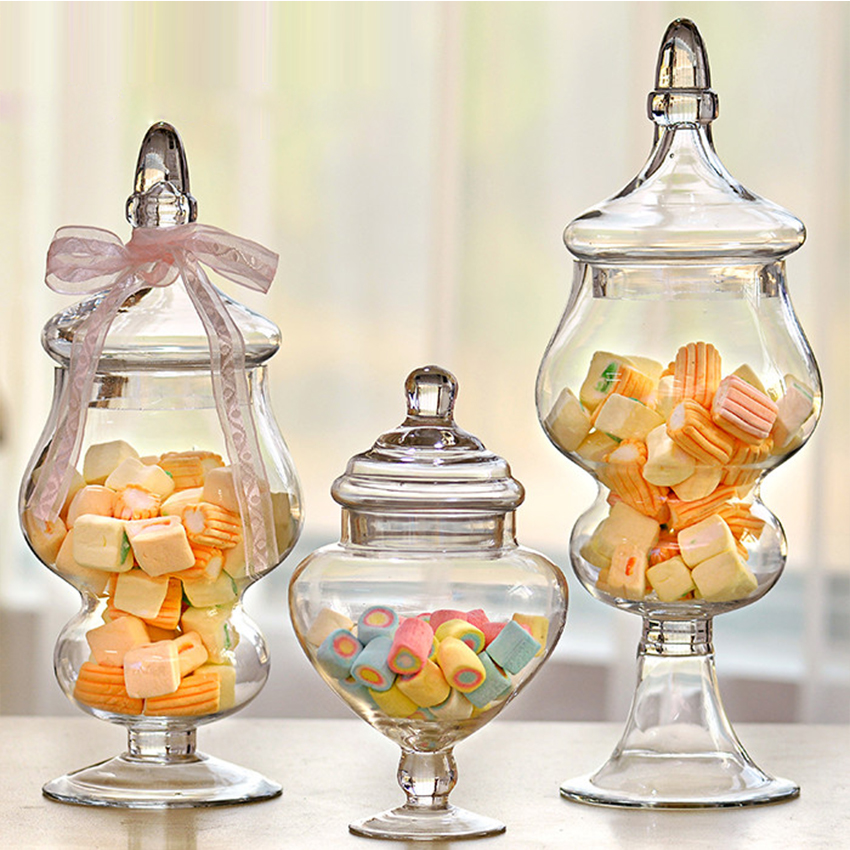 Creative transparent Glass bottles lid storage dust proof cake stand dessert candy jars tea caddy wedding