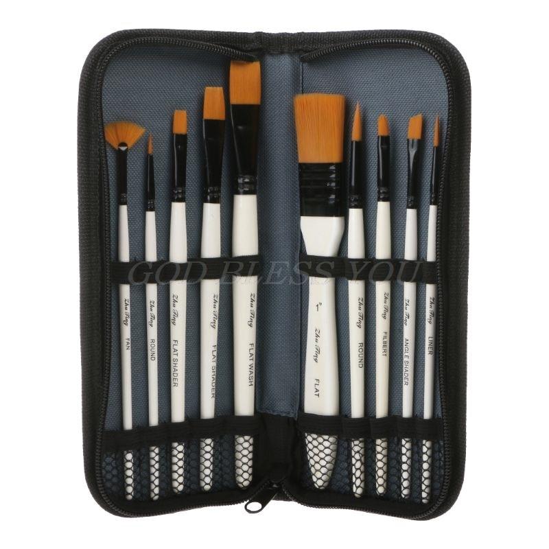 10Pcs Nylon Hair Art Painting Brushes Set Acrylic Oil Watercolor Artists Paint Brush Set Drawing Supplies