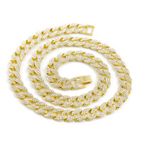 Miami Cuban Link Chain Gold Silver Necklace Bracelet Iced Out Crystal Rhinestone Bling Hip hop for Men Jewelry Necklaces