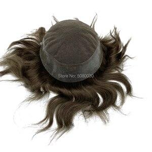Image 3 - Protez saç erkek saç örgü İnsan saç erkek peruk İsviçre dantel etrafında pu tabanı ücretsiz kargo Fedex DHL