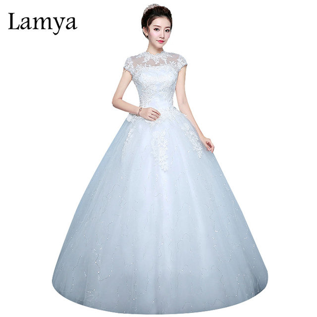 9684a12532 LAMYA Extra Large Size Fashion Womens Wedding Dress Cut-out Red Bride Gowns  Cheap Ball Gown Off White robe de mariee