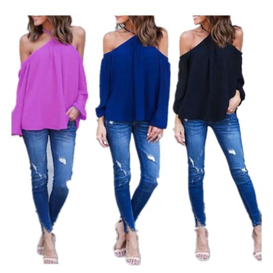 26035a4e8885 2019 женские Однотонные блузки, модные шифоновые блузки с длинным рукавом и  открытыми плечами, рубашки
