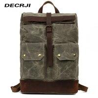 DECRJI Luxury Canvas Men Back Pack Bag Large Capacity Genuine Leather Backpack Male Waterproof Mens Backpack Rucksack Travel