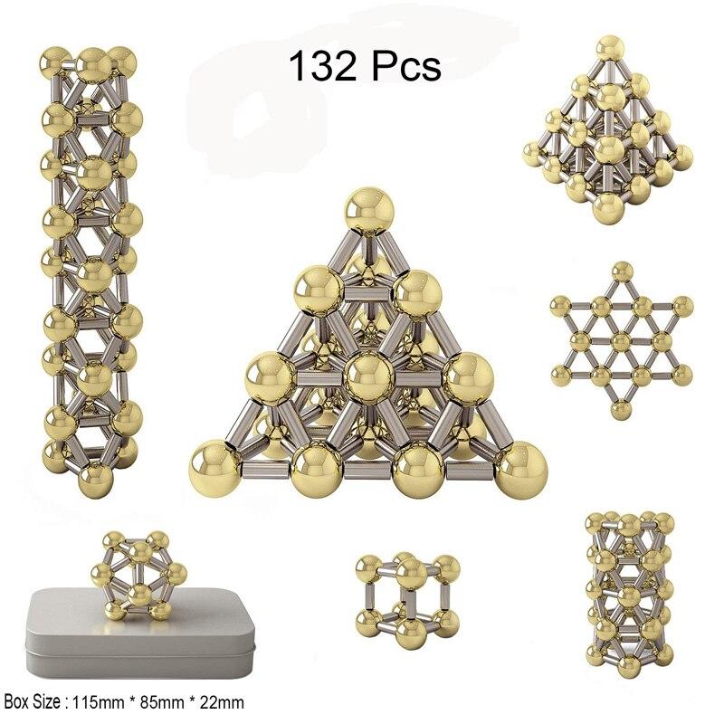 132pcs Magnetic Construction Set Toys,Magnetic Stick & Gold Plating Balls Building Blocks Fidget 3D Metal Puzzle Toys.