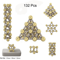 132pcs Magnetic Construction Set Toys,Magnetic Stick & Gold Plating Balls Building Blocks Fidget 3D Metal Puzzle Toys.