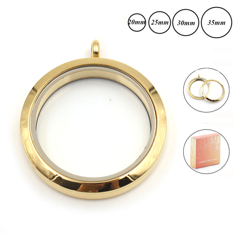wholesale 20mm 25mm 30mm 35mm gold screw top 316L Stainless steel floating locket pandent plain face