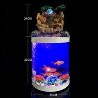 Настольные украшения каскад цилиндра аквариум искусственные пейзаж насадка Barrel ball Фонтан комплект аквариум с светодио дный легкий насос ф