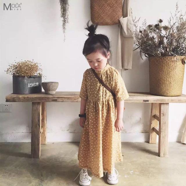 972d57f1793 De Calidad superior Polka Dot Sweety Vestido de Los Cabritos Para El Bebé  amarillo Largo Vestido