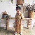 Top Qualidade Polka Dot Sweety Crianças Vestido Para O Bebé amarelo Vestido Longo Verão Estilo vintage Tornozelo Vestido Coreano Crianças roupas