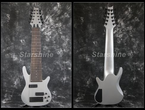 Starshine 10 Strings Electric Bass Guitar YL-10BG Matt Metal Grey Black Hardware Fixed BridgeStarshine 10 Strings Electric Bass Guitar YL-10BG Matt Metal Grey Black Hardware Fixed Bridge