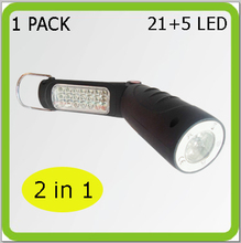 New foldable 2 in 1 MULTI-FUNCTIONAL work light flash light 21+5 LED work lamp FLEXIBLE led torch portable 3*AA battery