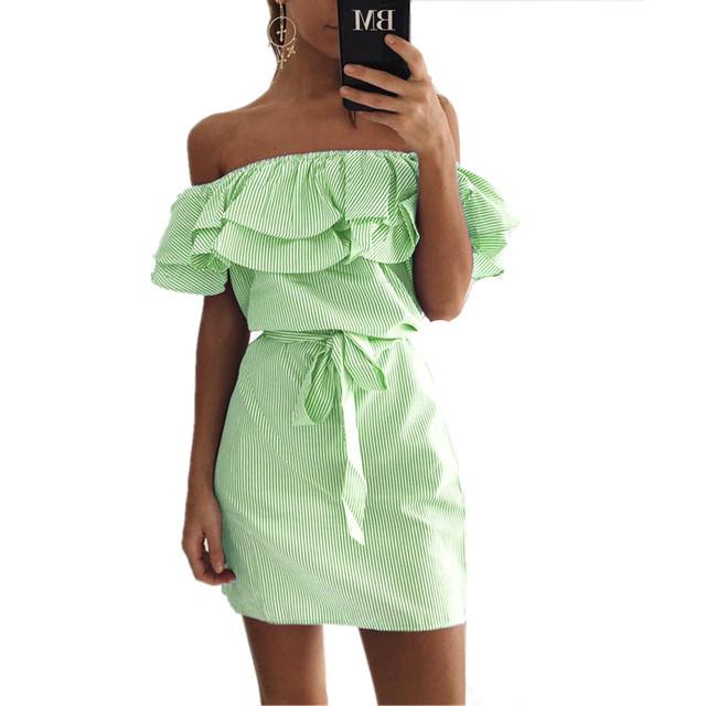 2017 Ruffles slash neck women dress Summer style off shoulder Butterfly Sleeve dresses Striped mini dress With Belt Vestidos