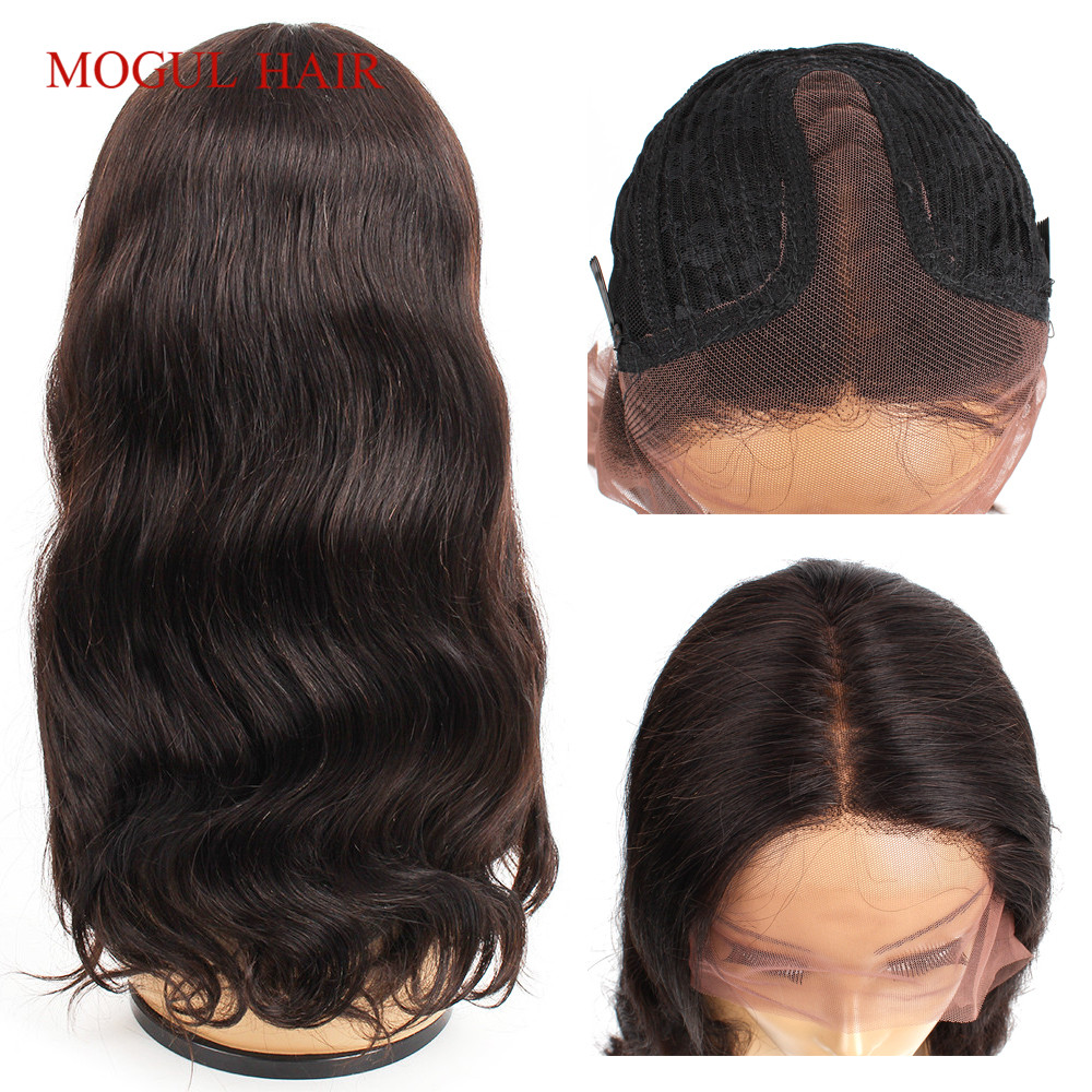Mogul Hair T Part Pre Plucked Lace Front Human Hair Wigs For Black Women Brazilian Body Wave Hair 14-24 Inch Middle Part