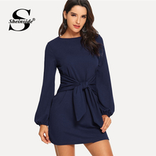 Sheinside Navy High Waist Knot Bishop Sleeve Mini Dress Women Clothes 2018 Autumn Dresses Elegant Boat Neck Long Sleeve Dress
