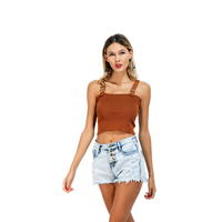 New Women Sexy Crop Tops Summer New Knitted Camis Khaki Slash Neck Stretch Tank Top Lady