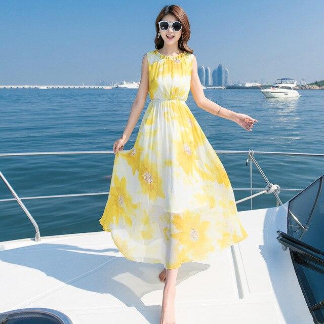 Bermotif Bunga Gaun Panjang Maxi Kasual Musim Panas Pantai Pakaian