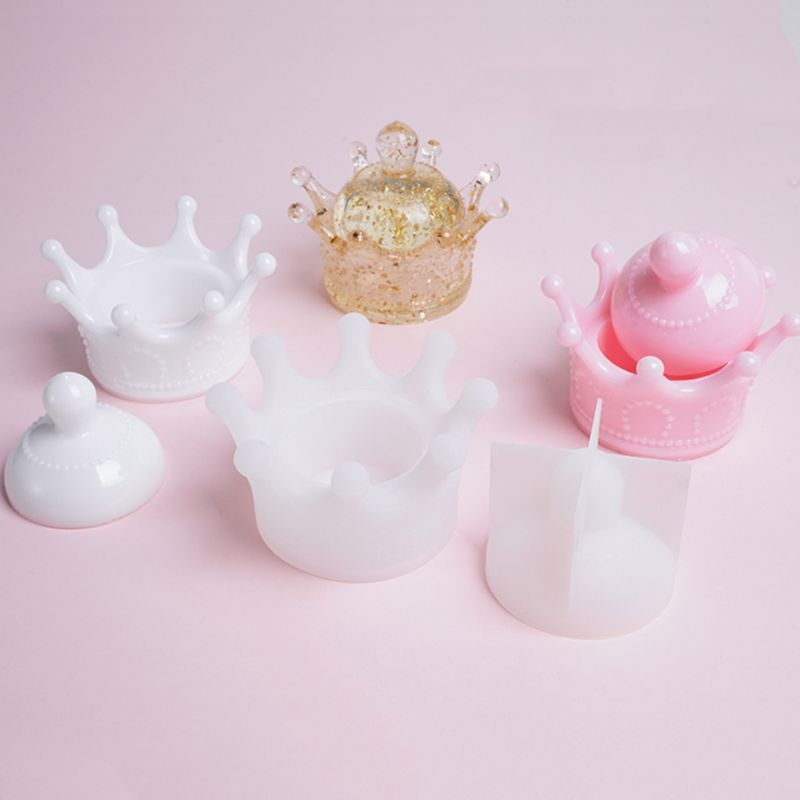 New DIY Storage Box Mold Crystal Epoxy Set Table Decoration Jewelry Three-dimensional Crown Molding Silicone Molds