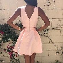 Sexy Women Party Dresses Fashion 2019 Summer Sleeveless Deep V-neck Bodycon Pink Dress Ladies Casual Big Swing Mini Dresses #YL5